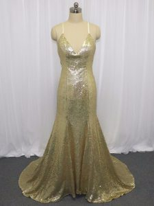Sleeveless Sequins Criss Cross Evening Dress with Champagne Brush Train