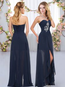 Empire Quinceanera Court of Honor Dress Navy Blue Sweetheart Chiffon Sleeveless Floor Length Lace Up