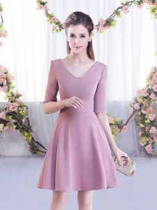 Customized Pink Chiffon Zipper V-neck Half Sleeves Mini Length Wedding Party Dress Ruching