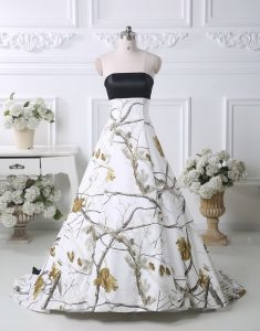 Fantastic Printed Strapless Sleeveless Brush Train Lace Up Pattern Wedding Gowns in Multi-color