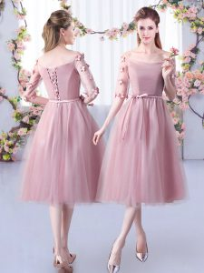 Hot Selling Pink Empire Appliques and Belt Bridesmaid Dress Lace Up Tulle Half Sleeves Tea Length