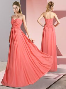 Low Price Sweetheart Sleeveless Prom Dress Floor Length Ruching Watermelon Red Chiffon