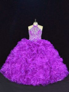Affordable Sleeveless Organza Floor Length Lace Up Quinceanera Dresses in Purple with Beading and Ruffles