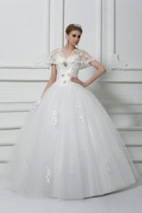 Fantastic White Short Sleeves Floor Length Beading and Appliques Lace Up Bridal Gown