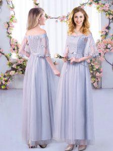Grey Side Zipper Vestidos de Damas Lace and Belt Half Sleeves Floor Length