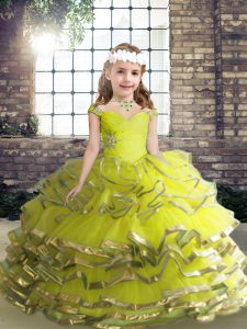 Straps Sleeveless Organza Little Girl Pageant Gowns Beading and Ruffles Lace Up