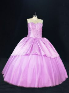 Scoop Sleeveless Satin and Tulle Vestidos de Quinceanera Beading Lace Up