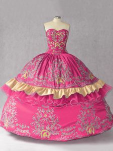 Custom Fit Sleeveless Embroidery Lace Up Quinceanera Gown