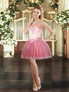 Tulle Sleeveless Mini Length Prom Dress and Beading and Appliques