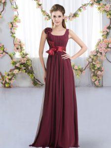 Empire Court Dresses for Sweet 16 Burgundy Straps Chiffon Sleeveless Floor Length Zipper