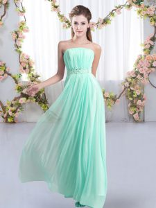 Colorful Empire Sleeveless Aqua Blue Bridesmaid Gown Sweep Train Lace Up