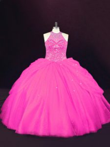 Simple Floor Length Lace Up Ball Gown Prom Dress Hot Pink for Sweet 16 and Quinceanera with Beading