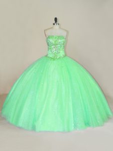 Beautiful Green Strapless Neckline Beading and Sequins Quinceanera Gown Sleeveless Lace Up