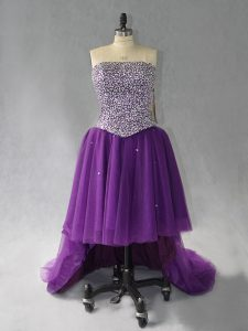 Purple Prom and Party with Beading Strapless Sleeveless Lace Up