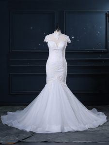 Beauteous White High-neck Clasp Handle Lace Bridal Gown Court Train Cap Sleeves