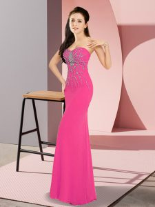 Perfect Sweetheart Sleeveless Chiffon Dress for Prom Beading Zipper