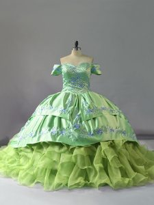 Inexpensive Yellow Green Organza Lace Up Quinceanera Gown Sleeveless Chapel Train Embroidery and Ruffles