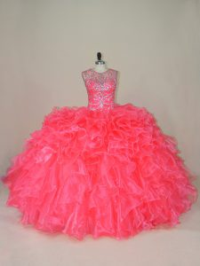 Custom Made Organza Sleeveless Quinceanera Gowns and Beading and Ruffles