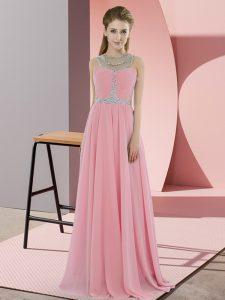 Classical Watermelon Red Chiffon Zipper Scoop Sleeveless Floor Length Evening Dress Beading