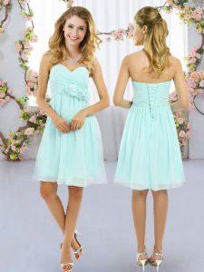 Elegant Aqua Blue Lace Up Sweetheart Hand Made Flower Court Dresses for Sweet 16 Chiffon Sleeveless