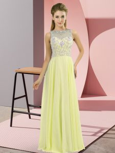 Yellow Chiffon Zipper Prom Gown Sleeveless Floor Length Beading