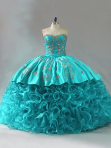 Shining Sleeveless Embroidery and Ruffles Lace Up Sweet 16 Dresses with Aqua Blue Brush Train