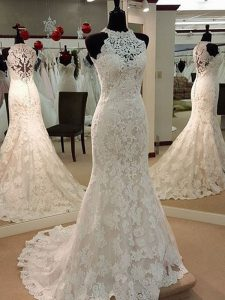 Designer White Sleeveless Lace Clasp Handle Wedding Dresses