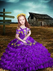 Floor Length Purple Glitz Pageant Dress Organza Short Sleeves Embroidery and Ruffled Layers
