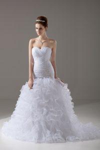 Colorful Sweetheart Sleeveless Brush Train Lace Up Wedding Dresses White Organza