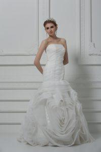 Mermaid Sleeveless White Bridal Gown Brush Train Lace Up