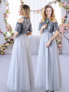 Flare Off The Shoulder Short Sleeves Zipper Wedding Party Dress Grey Tulle