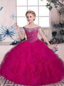 Trendy Tulle Off The Shoulder Sleeveless Lace Up Beading and Ruffles Little Girls Pageant Dress in Fuchsia