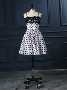 Pretty Satin Sleeveless Mini Length Prom Dress and Lace