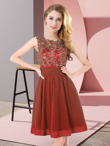 Graceful Rust Red Chiffon Backless Scoop Sleeveless Mini Length Bridesmaids Dress Beading and Appliques