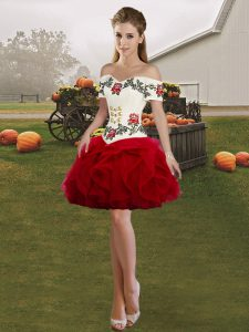 Exceptional Tulle Sleeveless Mini Length and Embroidery and Ruffles