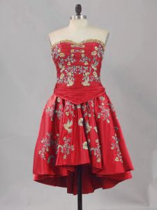 Super Sweetheart Sleeveless Dress for Prom Mini Length Embroidery Red Satin