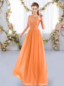 Orange Empire Scoop Sleeveless Chiffon Floor Length Zipper Lace Quinceanera Dama Dress