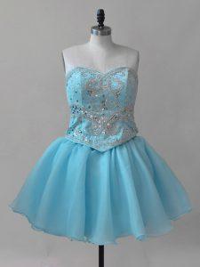 Super Sleeveless Lace Up Mini Length Beading Prom Dresses