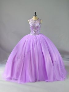Hot Sale Sleeveless Tulle Floor Length Lace Up Quinceanera Gown in Lavender with Beading