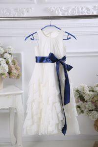 White Zipper Scoop Ruffles and Belt Toddler Flower Girl Dress Chiffon Sleeveless