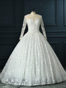 Exceptional White Ball Gowns Beading and Lace Bridal Gown Zipper Lace Long Sleeves
