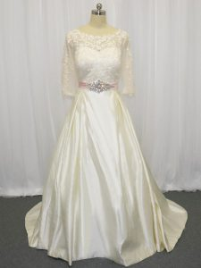 Vintage White Wedding Dresses Scoop Half Sleeves Brush Train Zipper