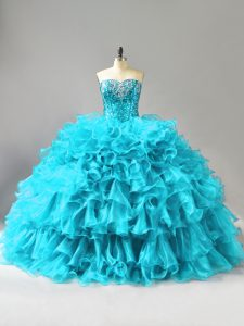 Sweetheart Sleeveless Organza Quince Ball Gowns Ruffles and Sequins Lace Up