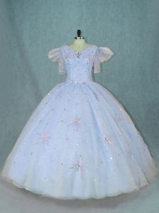 Wonderful Light Blue Short Sleeves Organza Zipper Quince Ball Gowns for Sweet 16 and Quinceanera
