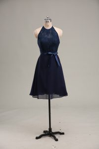 Luxury Navy Blue Scoop Backless Lace and Appliques Prom Dresses Sleeveless