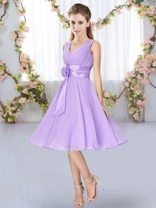 Sleeveless Chiffon Knee Length Lace Up Damas Dress in Lavender with Hand Made Flower