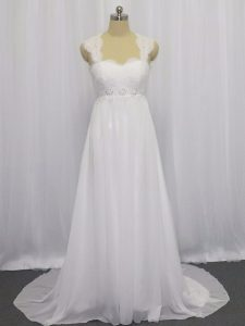 Classical White Wedding Gowns Straps Sleeveless Brush Train Lace Up