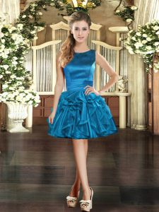 Most Popular Blue Prom Dress Prom and Party with Ruffles Scoop Sleeveless Lace Up