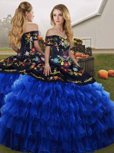 Exquisite Blue And Black Ball Gowns Organza Off The Shoulder Sleeveless Embroidery and Ruffled Layers Floor Length Lace