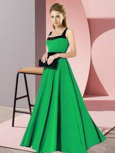 Green Sleeveless Belt Floor Length Court Dresses for Sweet 16